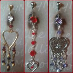 Swarovski  Heart belly rings by BellybyMollie on Etsy