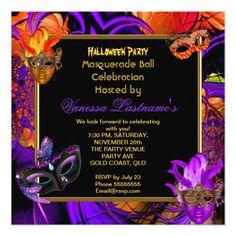 Shop Masquerade Masked Purple Orange Halloween Party Invitation created by Zizzago. Masquerade Party Invitations, Masquerade Ball Party, Halloween Masquerade, Bachelorette Party Invitations, Halloween Party Invitations, Quinceanera Invitations, Corporate Invitation, Elegant Birthday Party, Orange Party