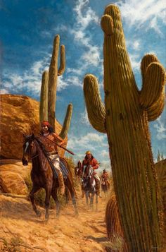 Among the Desert Giants | Apache Art Painting | James Ayers
