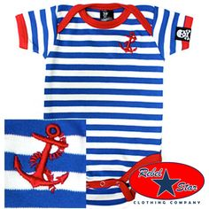 Anchor Stripe Baby Onesie Kids Sailor Rockabilly Tattoo Boat 50s 60s Punk Retro | eBay