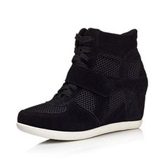 Womens High Top Wedge Hidden Heel Suede Leather Fashion Sneaker Black Mesh Label 38  US 7 * Want additional info? Click on the affiliate link Amazon.com on image.