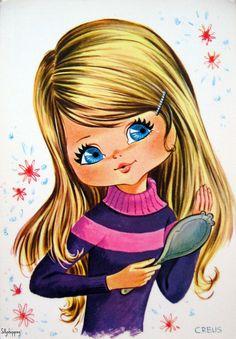vintage big eyed girl art soooooo cute!!