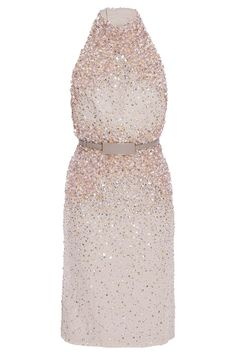 Halter Beaded Shift Dress