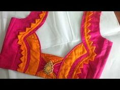 Easy blouse back neck design cutting and stitching -Tutorial - Crazzy Crafts Cutwork Blouse Designs, Patch Work Blouse Designs, Simple Blouse Designs, Blouse Back Neck Designs, Stylish Blouse Design, Blouse Simple, Blouse Patterns, Embroidery Patterns, Traditional Blouse Designs