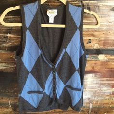 TALBOTS vest Cute grey & blue 100% merino wool. Gently worn. NO TRADES Talbots Jackets & Coats Vests