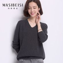2016 New Women Casual Christmas Sweater 100% Wool Autumn All Match V-neck Pullovers Full Sleeves Solid Regular Sweater(China (Mainland))