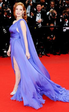 Jessica Chastain in a breathtaking Elie Saab Couture gown and Roger Vivier heels on the #redcarpet at #Cannes2014.