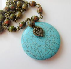 Turquoise blue necklace, by romanticcrafts, $29.50