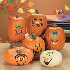 Pumpkin decorating is a treasured tradition during the Halloween season and this Pumpkin Decorating Craft Kit makes it that much more fun! You'll want to carve out a new pumpkin decorating tradition with this kit. Halloween Wishes, Theme Halloween, Halloween Crafts For Kids, Halloween Season, Halloween Pumpkins, Halloween Ideas, Holiday Crafts, Kids Crafts, Halloween Carnival