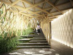 Kengo Kuma designed Sunny Hills Japan Shop with jiigoku-gumi style wood Japan Architecture, Wooden Architecture, Stairs Architecture, Architecture Details, Landscape Architecture, Interior Architecture, Landscape Design, Kengo Kuma, Interior Desing