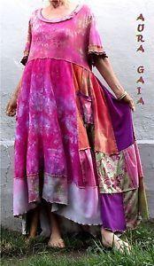 AuraGaia Poorgirl's Boho Upcycled OverDyed Patchy Garden Dress fits XL-3X PLUS