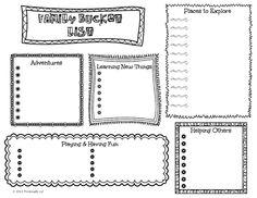 Create a Family Bucket List- Free printable activity