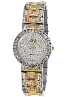 Special Offers Off Burgi Women's Diam Two-Tone Base Metal Pave Crys Dial Silver-Tone Base Metal Watch