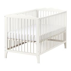 Instead of painting her crib..just save for next kid. $100 and side can be removed when she started climbing out. HENSVIK Crib   - IKEA