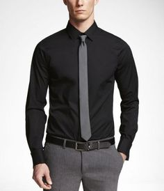 1MX Extra Slim Fit French cuff shirt in Black from Express
