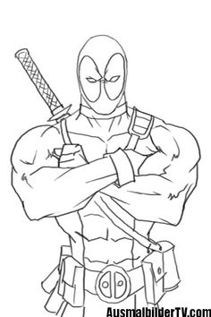 How To Draw Deadpool Drawings Sketch Coloring Page