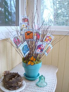 seed packet bouquet. very cute idea for a spring baby shower.