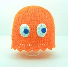 Orange Pacman Ghost Hat Handmade Crochet Beanie - Rare Bird Finds