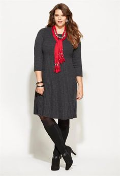 TOPSELLER! Avenue Plus Size Pleated Skirt Sweater Dress $78.00