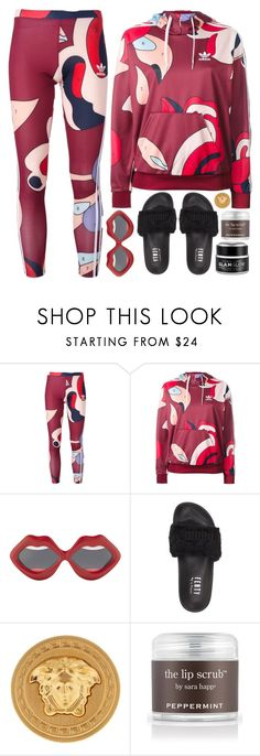 """rough week"" by iriskatarina ❤ liked on Polyvore featuring adidas Originals, Yazbukey, Puma, Versace, Sara Happ and GlamGlow"