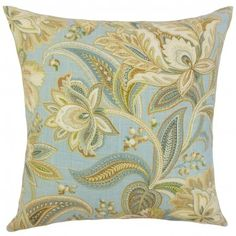 The Pillow Collection Jaunel Floral Pillow Blue
