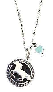 Saddles Tack Horse Supplies - ChickSaddlery.com Running Horse Pendant With Turquoise Bead Charm