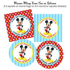 PRINTABLE Modern Mickey Mouse Favor Tags or Stickers - DIY via Etsy