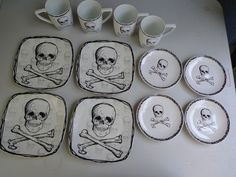 unique plate sets | unique dish set skull cross bones gothic plates mugs matched Halloween ...