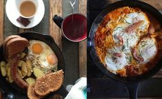 Breakfasts this weekend; merguez with rosemary potatoes, fried eggs.
