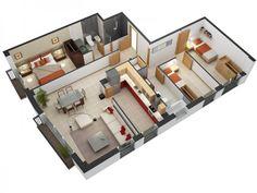 Three Bedroom Home Design Inspiration Modern Bungalow Floor Plan 3D Small 3 Bedroom Floor Plans Inspiration Design