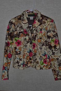 Bright Floral Lined Jacket Blazer 10P Petite Stretch Cotton Harve Bernard