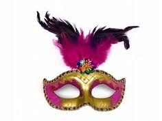 Škraboška zlato-ružová s pierkom Everything Pink, Bunt, Captain Hat, Elegant, Jewelry, Art, Carnival Mask, Accessories, Feather Headdress