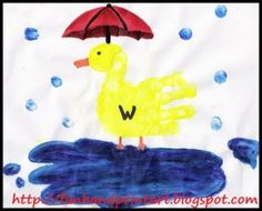 Rainy Day Handpint Duck with Umbrella - Fun Handprint Art