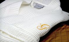 3cd2692fa72f Groupon - One or Two Luxor Linens Egyptian-Cotton Spa Robes with Monograms  in Black