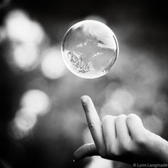 """Black and White Photography - bubble above fingertip bathroom decor bath print bubble wall art bubbles gray abstract 8x8 print """"Moment"""""""