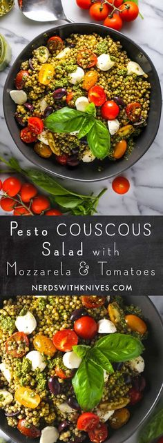 Pesto Couscous Salad with Mozzarella and Tomatoes – Nerds with Knives If you have a mountain of basil in your garden, go make pesto! And then make this pesto couscous salad and feel damn proud of yourself. Vegetarian Recipes, Cooking Recipes, Healthy Recipes, Cooking Food, Vegetable Recipes, Beef Recipes, Cooking Tips, Chicken Recipes, Healthy Salads