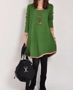 Green sweater dress knitwear wool dress large size knitted sweater long women casual sweater dress plus size sweater cotton blouse wool tops...