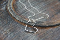 "Sterling silver heart pendant necklace ""Melt my heart"", silver 925 heart pendant, organic, natural, rough texture, molten silver, melted by Keepandcherish on Etsy"