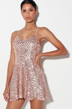 3adfbeb6 Serenade in the Night Rose Gold Sequin Skater Dress
