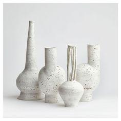 Cracked slip ceramic vases by Matthias Kaiser