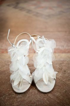 White fluffy wedding heels - City Girl Meets Country Boy Wedding.  Image by Emily Steffen Photography.