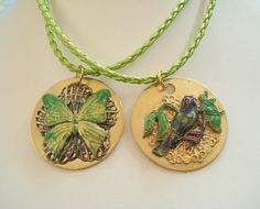 Enamel and Filigree Bird or Butterfly on a Brass Number/LetterTag,Pendant Necklace