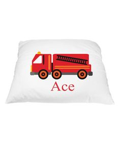 Love this Red Fire Truck Personalized Pillowcase on #zulily! #zulilyfinds