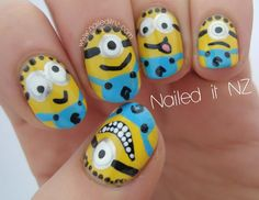 Despicable Me nail art! Yes, Please! The kid's (myself) would LOVE this!