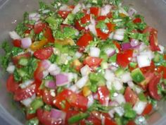 Cinfully Sweet Co: Pico de Gallo for Taco Bar-Grape Tomatoes cut in half, Diced red onion, 2 Jalapenos Diced, Chopped Cilantro and Juice from One Lime right before serving. Fresh Tomato Recipes, Taco Bar, Eat The Rainbow, Summer 2014, Cilantro, Tomatoes, Onion, Sauces, Salsa