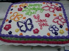 Sheet Cake with flowers and butterflies