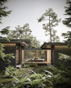 Pine Cove House on Behance House In Nature, House In The Woods, Dream Home Design, Modern House Design, Forest House, Dream House Exterior, Exterior Design, Interior Architecture, Black Architecture