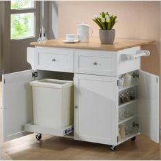 Coaster Kitchen Cart with Trash Compartment in White - 900558 45x21 $445