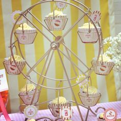 "Oh I have to have this ferris wheel stand!!!   (Photo 4 of 93: Vintage Carnival / Birthday ""Vintage Carnival 1st Birthday- Girl"" 