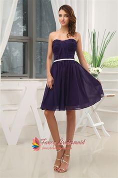 Dark Purple Short Bridesmaid Dresses, Knee Length Homecoming Dresses